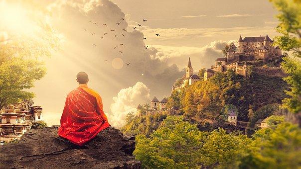 Meditation, Buddhism, Monk, Temple, Panorama, Buddhist