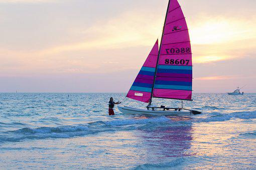 Sail Boat, Pink Sail Boat, Sail, Beach, Ocean, Sea