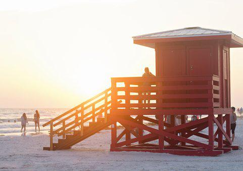 Beach, Ocean, Vacation, Life Guard Shack, Red, Sunshine