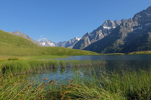 Serre-chevalier, Lake, Mountain, Summer, Alps, France