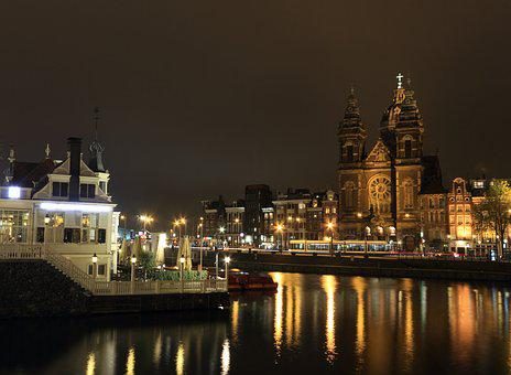 Netherlands, Amsterdam, Nightview, Station, Cityscape