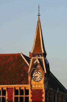 Clock, Tower, Time, Evening, Sunset, Glow, Sun
