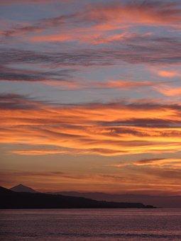 Sunset, Fire, Clouds, Sky, Horizon, Landscape