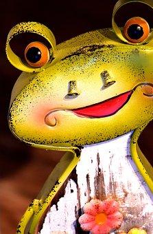 Frog, Figure, Metal, Funny, Fun, Garden, Decoration
