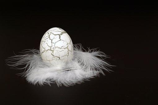 Easter Egg, Egg, Glass, Fragile, Feather, White, Easter
