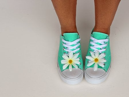Shoes, Daisy, Sneakers, Trainers, Fashion, Woman, Green