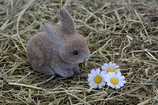 Bunny, Hare, Easter Decoration, Hay, Easter Decor