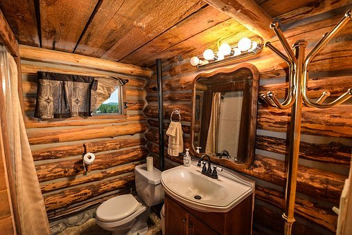 Log Home, Log, Home, Bathroom, Rustic, Country, Pioneer