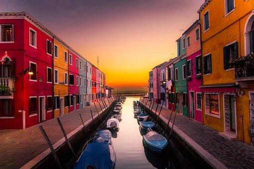 Venice, Italy, Burano Island, Buildings, Colors, Boats