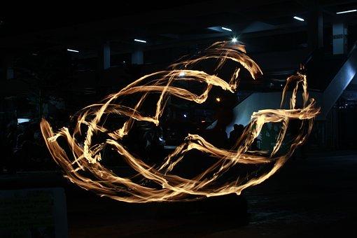 Light Painting, Fire Dancing, Fire, Light, Night