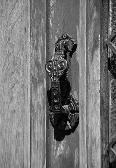 Knocker, Door, Black And White, Threshold, Metal, City
