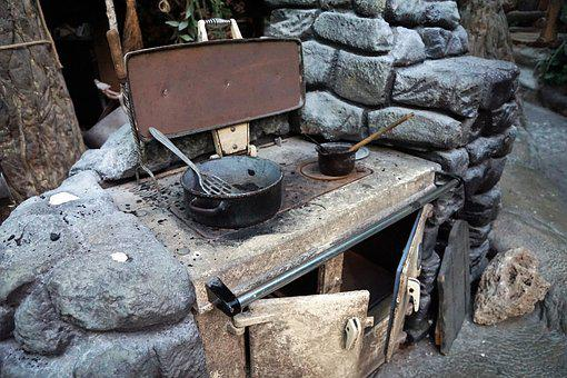 Kitchen, Stones, Old, Pan, Pot, Stove, Nutrition