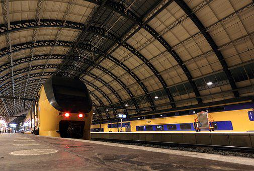 Netherlands, Amsterdam, Station, Central, Roof, Train