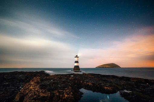 Lighthouse, Remote, Sky, Clouds, Sunset, Rocks, Rocky