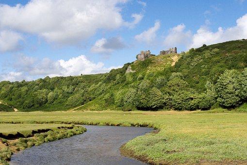 Wales, Castle, Beach, River, Swansea, Three Cliffs Bay
