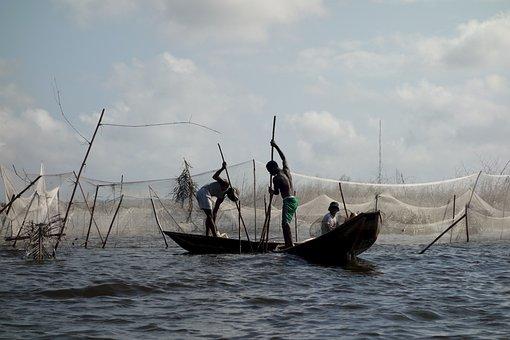 Benin, Lake, Africa, Waterpolo, Boat, Fishing