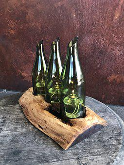Centerpiece, Mesquite Wood, Plank Wood, Wine Bottle