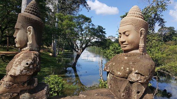 Angkor, Sculpture, Landscape, Zen, Relaxation, Stones