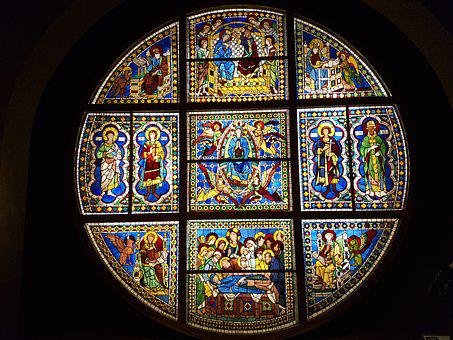 Stained Glass Window, Art, Cathedral, Glass, Rosette