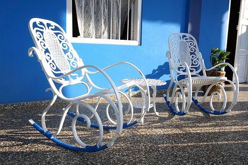 Rocking Chair, Blue, White, Iron, Cuba, Evening Sun