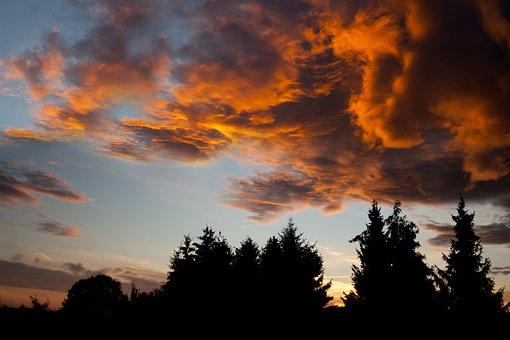 Sky, Orange, Orange Sky, Clouds, Mood, Face, Sunrise