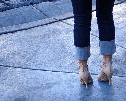 Jeans, Heals, Women, Fashion, Female, High, Footwear