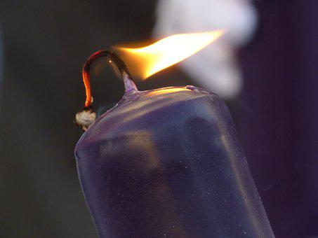 Candle, Fire, Flame, Purple