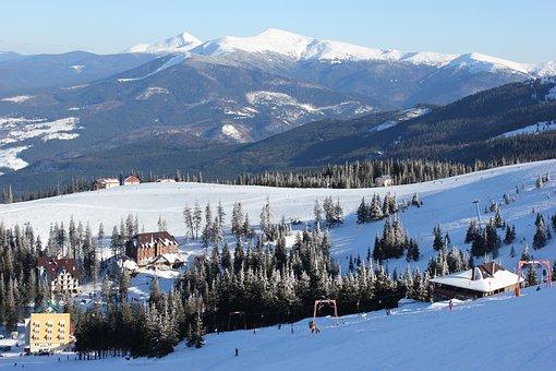 Winter, Mountains, Ski Resort, Forest, Snow, Landscape