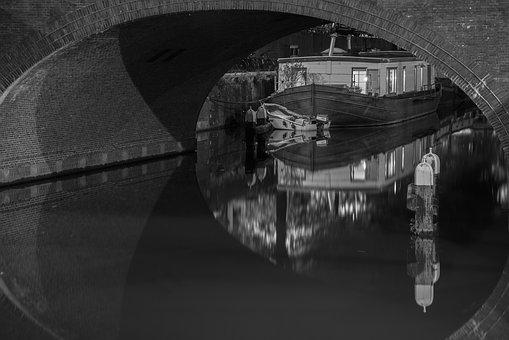 Bridge, Lights, Night, Netherlands, Water, Canal