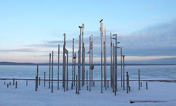 Karelia, Petrozavodsk, Lake Onega, Metal Sculpture