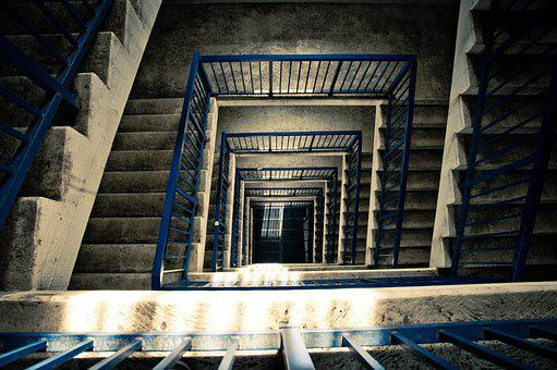 Stairs, Architecture, Tower, Railing, Blue, Grey, Trist
