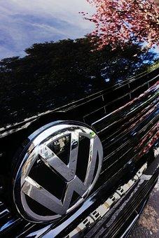 Volkswagen, Vw, Badge, Marque, Reflection, Black