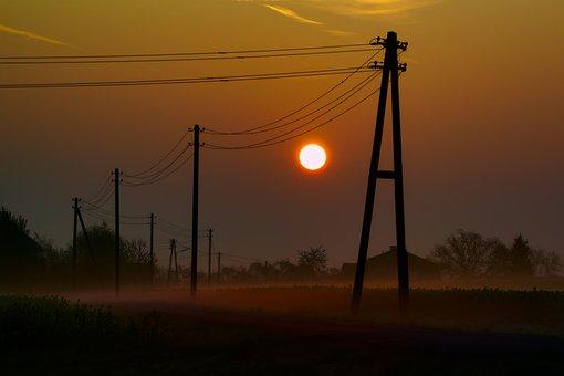 Sun, Sunrise, Morgenrot, Skies, Landscape, Lantern, Fog