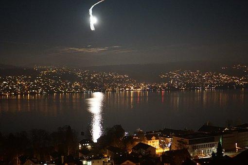 Lake, Reflection, Water, Night, Zurich