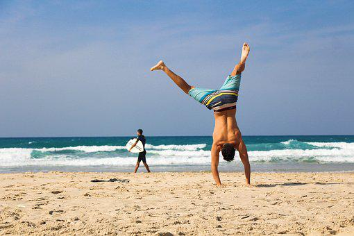 Handstand, Beach, Sea, Ocean, Sand, Exercise, Young
