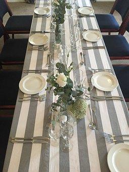 Decor, Wedding, Grey, White, Table, Floral