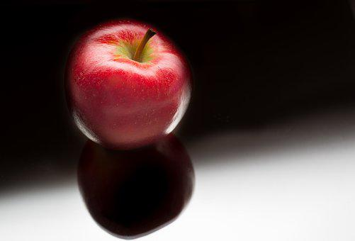 Shiny, Apple, Red, Black Background, Shade, Health