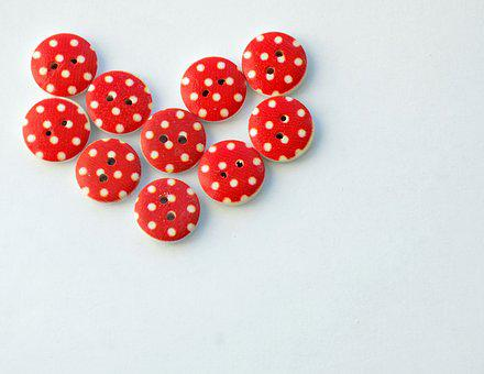 Buttons, Heart, Needlework, Red, Hobby, Love
