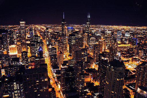 Chicago, Night, Urban, Usa