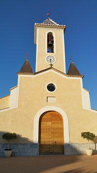 Church, People, Bell Tower, Balsicas, Murcia, Spain