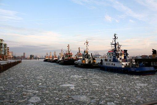 Port, Ships, Tug, Ice, Texture, Winter, Bugsier