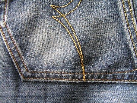 Blue Jeans, Back Pocket, Material, Photo, Textile