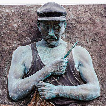 Fisherman, Repairing, Nets, Tradition, Sculpture