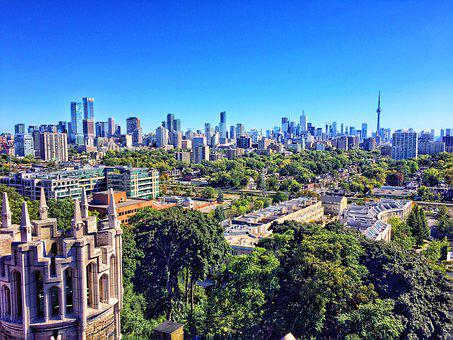 Toronto, Skyline, Cityscape, Usa, City