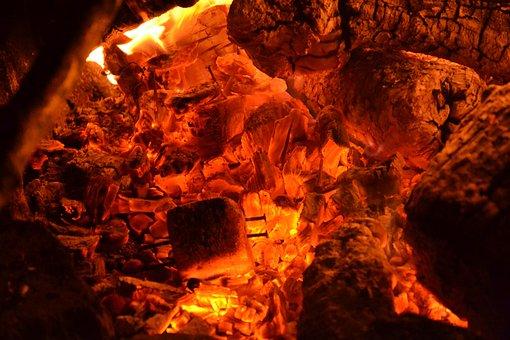 Embers, Fire, Flame, Burn, Hot, Wood, Heat, Fireplace