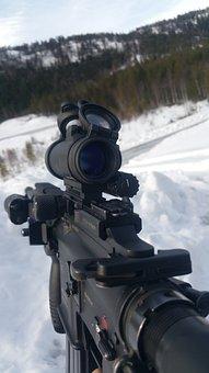 Automatic Rifle, Gun, Winter, Army, Hk 416, Battle