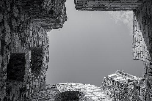 Ruin, Stone Wall, Bastion, Black And White, Sky, Stone