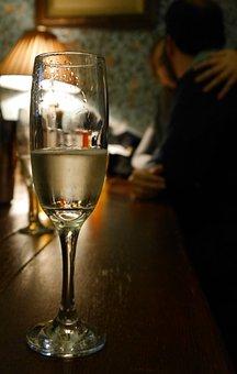 Celebration, Champagne, Couple, Pub, Love, Glass, Drink