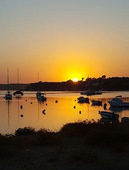 Evening, Sunset, Sea, Sailing Boats, Dusk