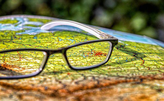 Map, Germany, Berlin, Capital, Glasses, Close, Detail